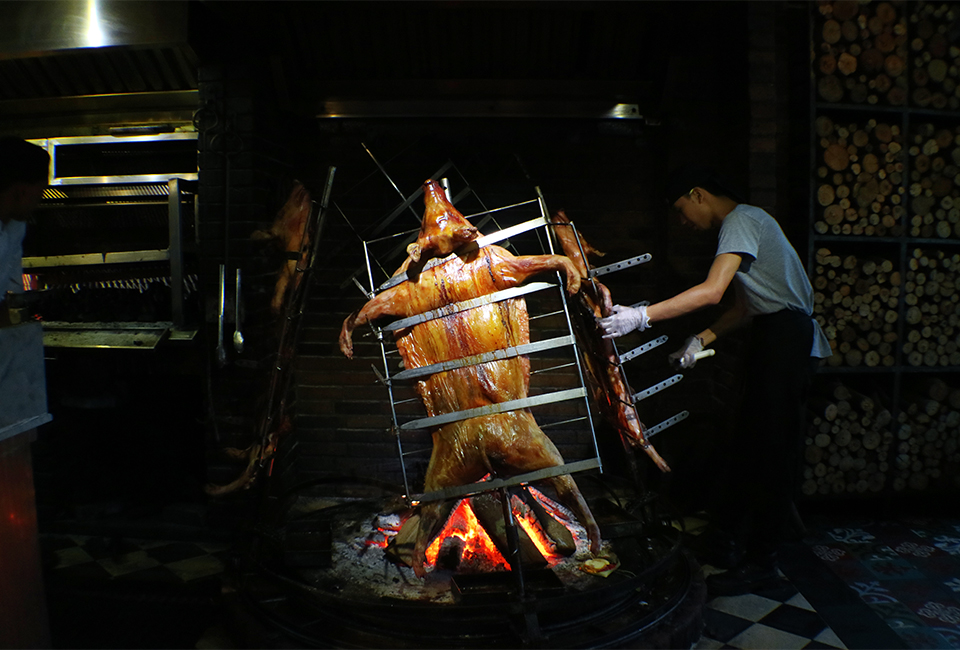 Pigs On A Spit At Barbacoa